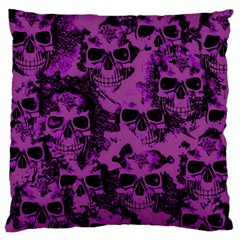 Cloudy Skulls Black Purple Large Flano Cushion Case (two Sides) by MoreColorsinLife