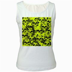Cloudy Skulls Black Yellow Women s White Tank Top by MoreColorsinLife