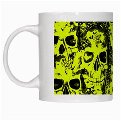 Cloudy Skulls Black Yellow White Mugs by MoreColorsinLife