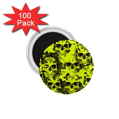 Cloudy Skulls Black Yellow 1 75  Magnets (100 Pack)  by MoreColorsinLife
