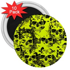 Cloudy Skulls Black Yellow 3  Magnets (10 Pack)  by MoreColorsinLife