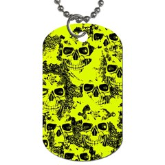 Cloudy Skulls Black Yellow Dog Tag (one Side) by MoreColorsinLife