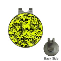 Cloudy Skulls Black Yellow Hat Clips With Golf Markers by MoreColorsinLife