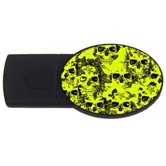 Cloudy Skulls Black Yellow Usb Flash Drive Oval (4 Gb) by MoreColorsinLife