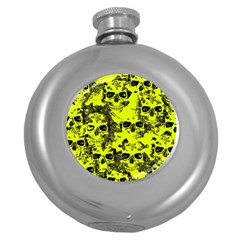 Cloudy Skulls Black Yellow Round Hip Flask (5 Oz) by MoreColorsinLife