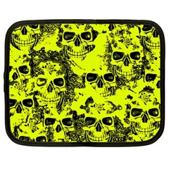Cloudy Skulls Black Yellow Netbook Case (large) by MoreColorsinLife