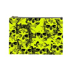 Cloudy Skulls Black Yellow Cosmetic Bag (large)  by MoreColorsinLife