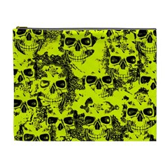 Cloudy Skulls Black Yellow Cosmetic Bag (xl) by MoreColorsinLife