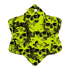 Cloudy Skulls Black Yellow Snowflake Ornament (two Sides) by MoreColorsinLife