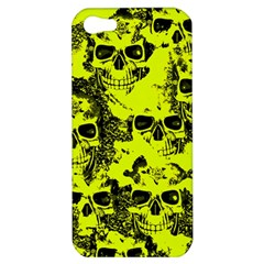 Cloudy Skulls Black Yellow Apple Iphone 5 Hardshell Case by MoreColorsinLife