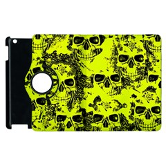 Cloudy Skulls Black Yellow Apple Ipad 3/4 Flip 360 Case by MoreColorsinLife