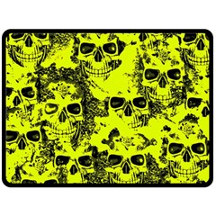 Cloudy Skulls Black Yellow Double Sided Fleece Blanket (large)  by MoreColorsinLife