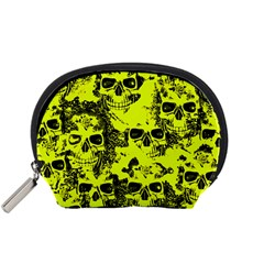 Cloudy Skulls Black Yellow Accessory Pouches (small)  by MoreColorsinLife
