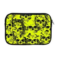 Cloudy Skulls Black Yellow Apple Macbook Pro 17  Zipper Case by MoreColorsinLife