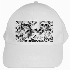 Cloudy Skulls B&w White Cap by MoreColorsinLife