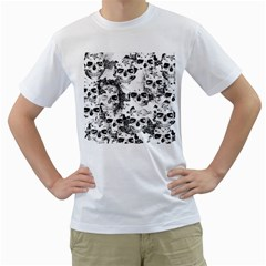 Cloudy Skulls B&w Men s T Shirt (white) (two Sided) by MoreColorsinLife