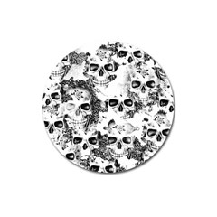 Cloudy Skulls B&w Magnet 3  (round) by MoreColorsinLife