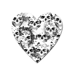 Cloudy Skulls B&w Heart Magnet by MoreColorsinLife