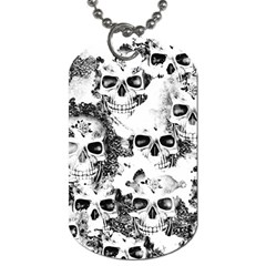 Cloudy Skulls B&w Dog Tag (two Sides) by MoreColorsinLife