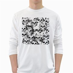 Cloudy Skulls B&w White Long Sleeve T Shirts by MoreColorsinLife