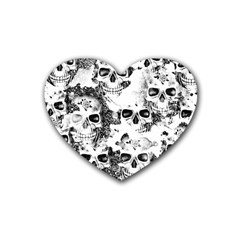 Cloudy Skulls B&w Rubber Coaster (heart)  by MoreColorsinLife