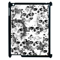 Cloudy Skulls B&w Apple Ipad 2 Case (black) by MoreColorsinLife