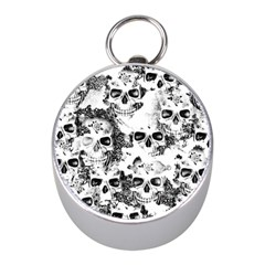 Cloudy Skulls B&w Mini Silver Compasses by MoreColorsinLife