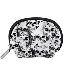 Cloudy Skulls B&w Accessory Pouches (small)  by MoreColorsinLife