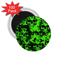 Cloudy Skulls Black Green 2 25  Magnets (100 Pack)  by MoreColorsinLife