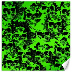 Cloudy Skulls Black Green Canvas 20  X 20   by MoreColorsinLife