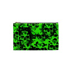 Cloudy Skulls Black Green Cosmetic Bag (small)  by MoreColorsinLife