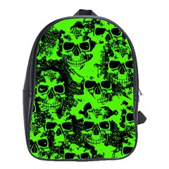 Cloudy Skulls Black Green School Bags(large)  by MoreColorsinLife