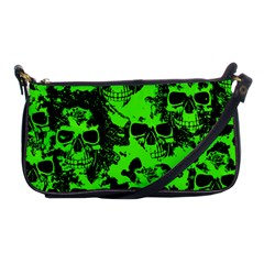 Cloudy Skulls Black Green Shoulder Clutch Bags by MoreColorsinLife