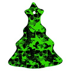 Cloudy Skulls Black Green Ornament (christmas Tree)  by MoreColorsinLife