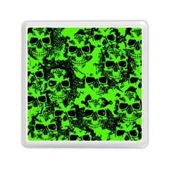 Cloudy Skulls Black Green Memory Card Reader (square)  by MoreColorsinLife