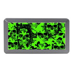 Cloudy Skulls Black Green Memory Card Reader (mini) by MoreColorsinLife