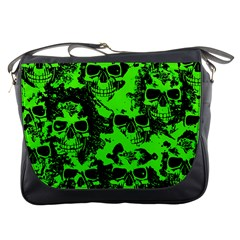 Cloudy Skulls Black Green Messenger Bags by MoreColorsinLife