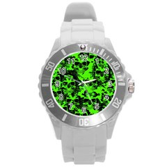 Cloudy Skulls Black Green Round Plastic Sport Watch (l) by MoreColorsinLife