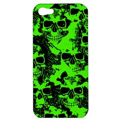 Cloudy Skulls Black Green Apple Iphone 5 Hardshell Case by MoreColorsinLife