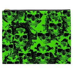 Cloudy Skulls Black Green Cosmetic Bag (xxxl)  by MoreColorsinLife