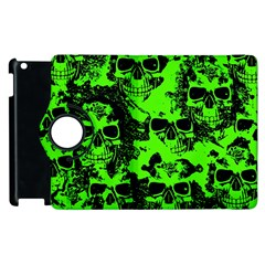 Cloudy Skulls Black Green Apple Ipad 3/4 Flip 360 Case by MoreColorsinLife