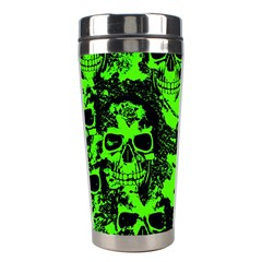 Cloudy Skulls Black Green Stainless Steel Travel Tumblers by MoreColorsinLife
