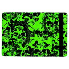 Cloudy Skulls Black Green Ipad Air 2 Flip by MoreColorsinLife