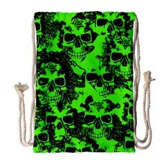 Cloudy Skulls Black Green Drawstring Bag (large) by MoreColorsinLife