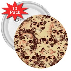 Cloudy Skulls Beige 3  Buttons (10 pack)  by MoreColorsinLife