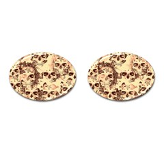 Cloudy Skulls Beige Cufflinks (oval) by MoreColorsinLife