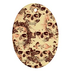 Cloudy Skulls Beige Oval Ornament (two Sides) by MoreColorsinLife
