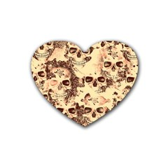 Cloudy Skulls Beige Heart Coaster (4 Pack)  by MoreColorsinLife