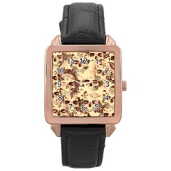 Cloudy Skulls Beige Rose Gold Leather Watch  by MoreColorsinLife