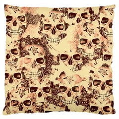 Cloudy Skulls Beige Large Flano Cushion Case (one Side) by MoreColorsinLife